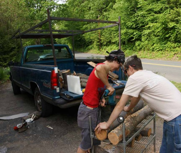 Drilling holes in the logs