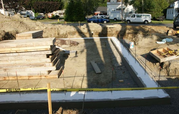 On Monday the 16th we took off the footing forms and brought in the stem wall forms.