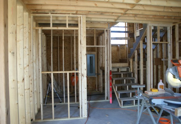 Today I finished framing in the first floor bathroom. Yesterday I finished the mechanical room.