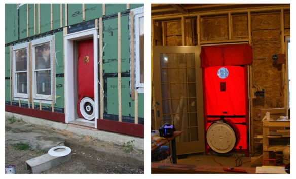 The blower door test setup.