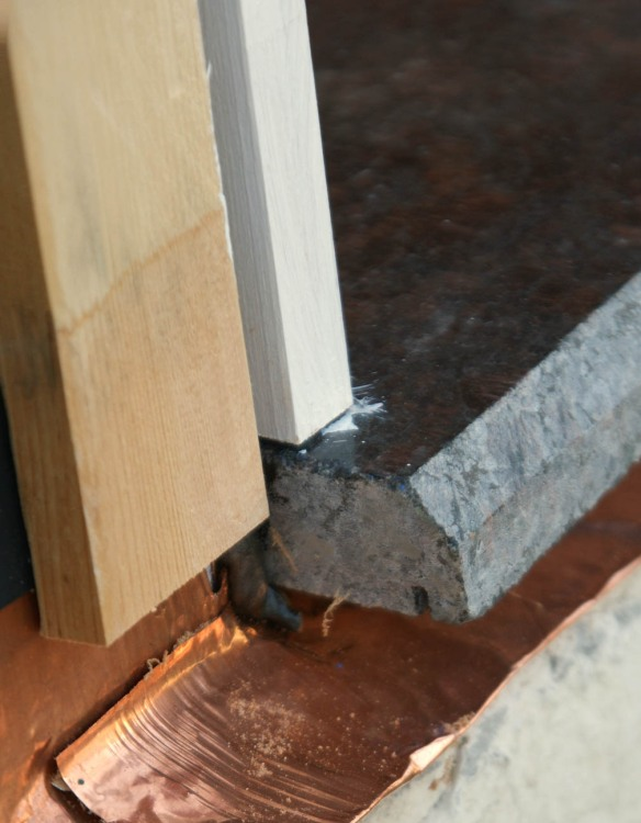 drip edge on stone threshold