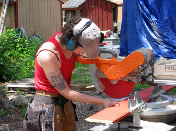 Veronica using sliding mitre saw
