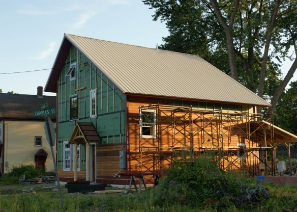 Tongue and groove red cedar siding clear stained on house