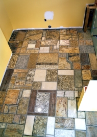 Granite counter top scrap remnant mosaic floor