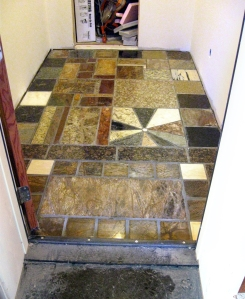 Granite counter top recycled scrap tile floor