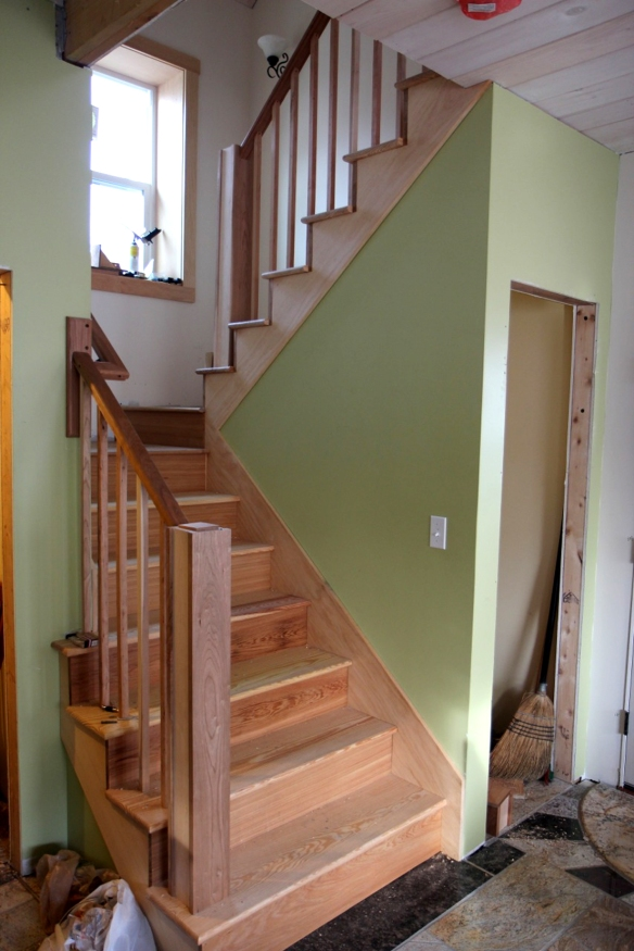 Completed solid wood stairs