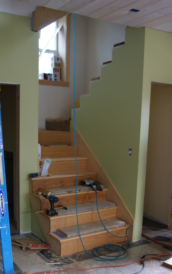 Beginning to work on the finish stairs