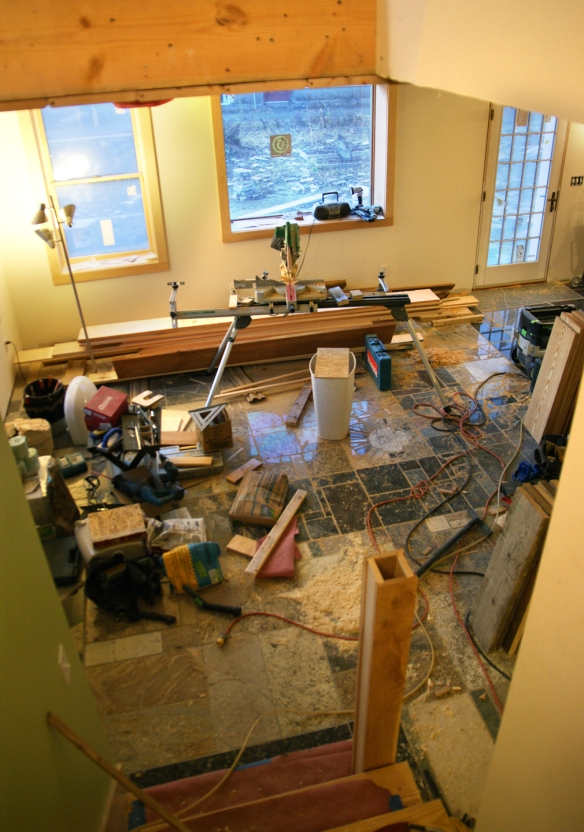 Construction site mess custom home