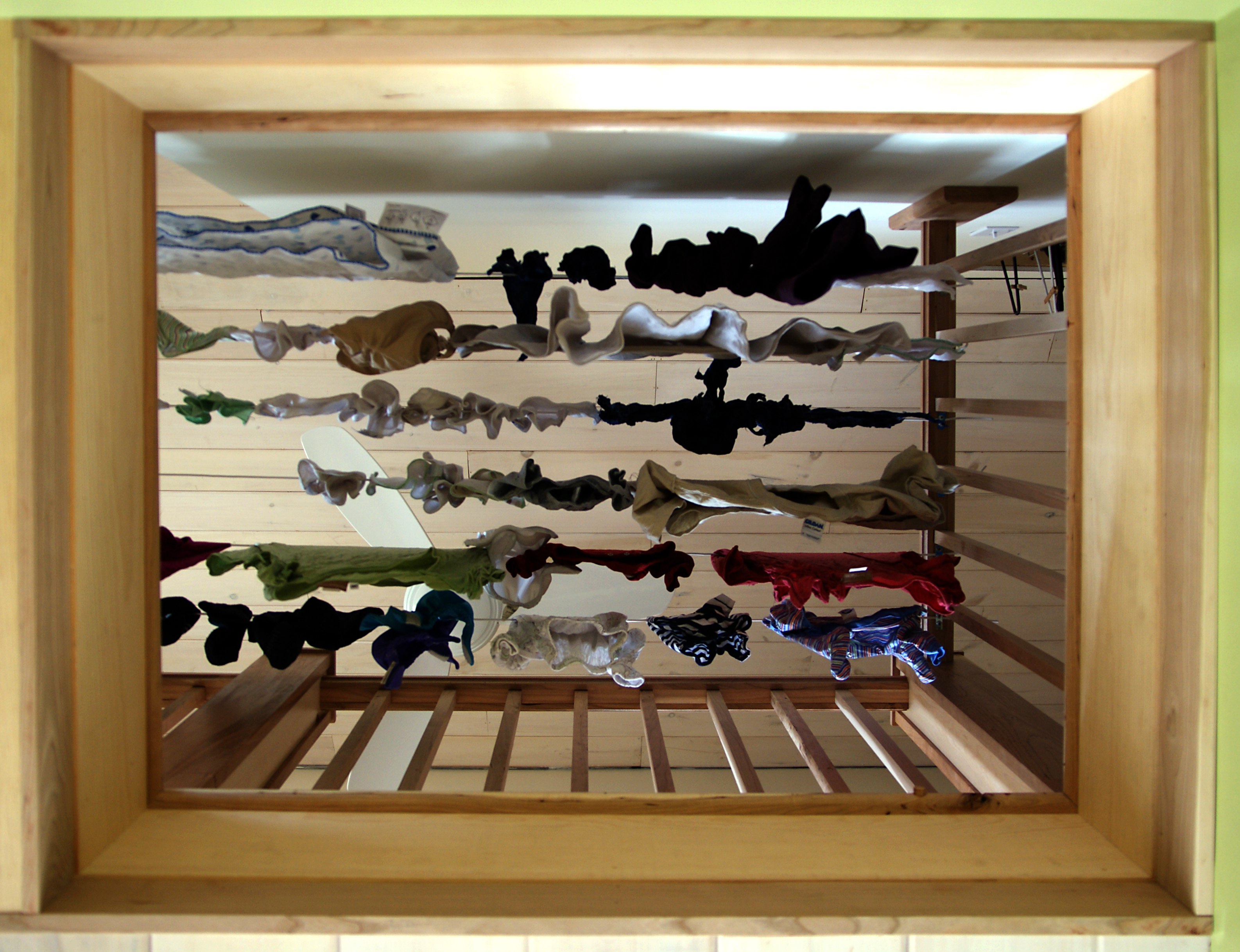 Our custom, indoor, built-in, clothes line drying system   Design ...
