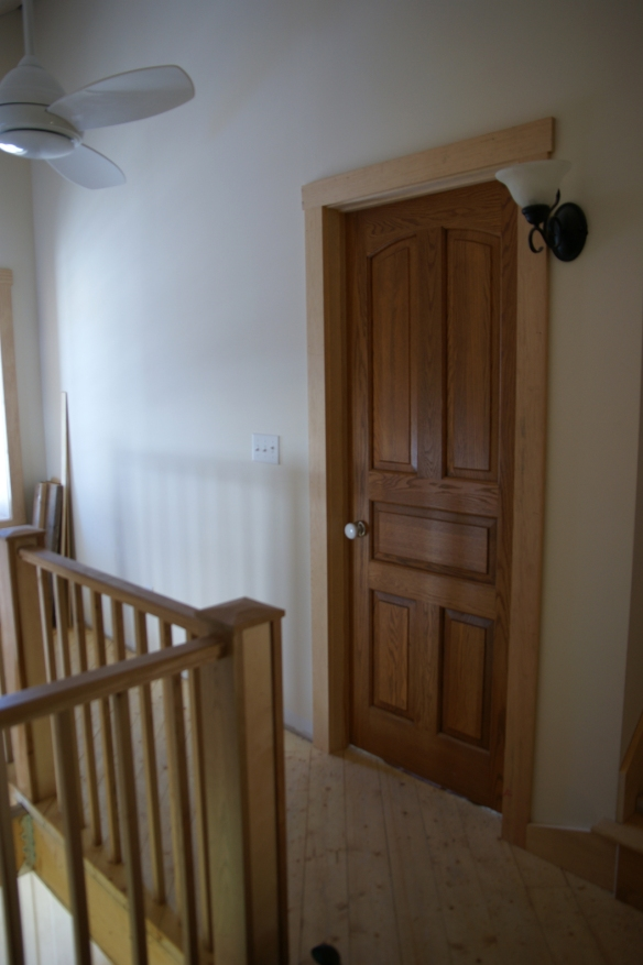 Master bedroom oak door.