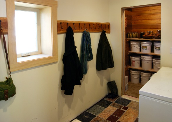 Mudroom with custom coat hooks
